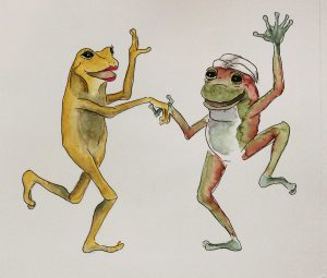 Coco and Indy dancing, Frogs and from trubles (Rege ali žabje frke) by Peter Andrej
